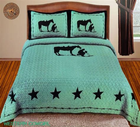 Texas Star Praying Cowboy Western Quilt Bedspread Cowboy Bedding