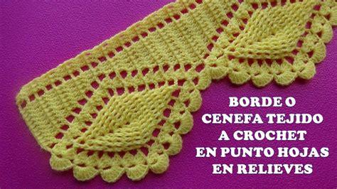 cenefas crochet borde o cenefa hojas en relieves tejido a crochet para