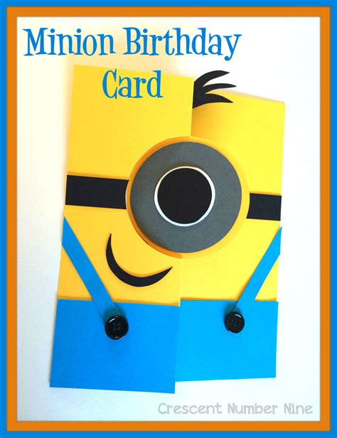 Birthday Card Template Minions by Minions Crescent Number Nine