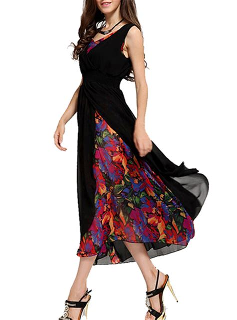 chiffon floral midi dress black sleeveless
