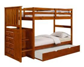 Solid Wood Bunk Bed With Trundle Solid Wood Oak Staircase Bunk Bed W Trundle Reversible Bunk Beds Houston