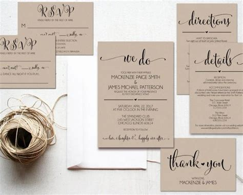 Where To Do Wedding Invitations by We Do Wedding Invitation Template Rustic Kraft Invitation