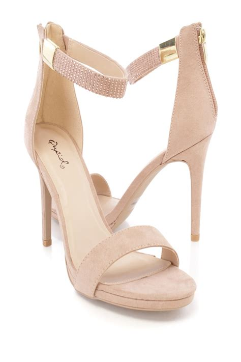 taupe high heels taupe open toe single sole faux suede high heels