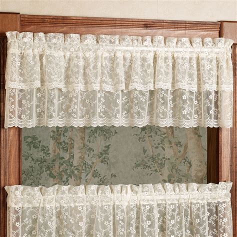 touch of class lace curtains bridal lace ruffled valance 60 x 12 touch of class