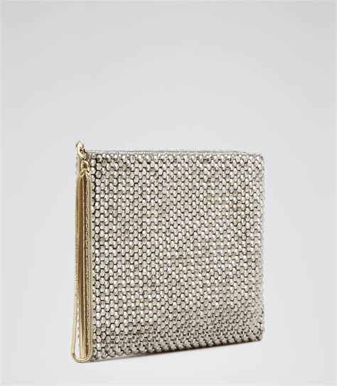 beaded clutch bag silver beaded clutch bag reiss