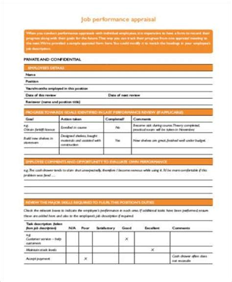 employee performance appraisal form simple appraisal forms 22 free documents in word pdf