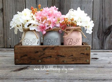 Planter Centerpieces by Rustic Planter Box With 3 Painted Jars By