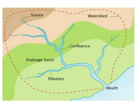 drainage basin system diagram water on the land