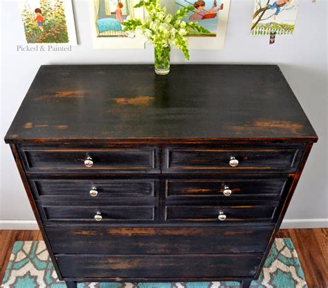 helen designs dresser in pitch black milk paint