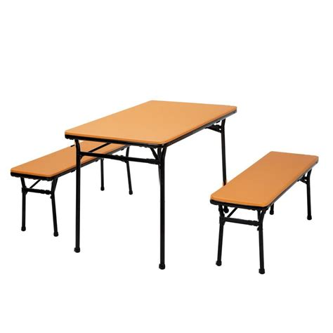 folding table and bench set cosco 3 piece orange folding table and bench set