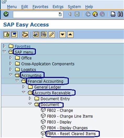 sap tutorial for accounts receivable reset cleared items document sap menu path sap
