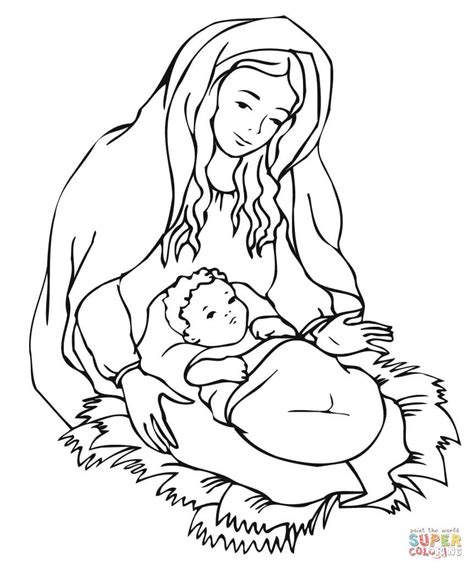 mary looking over jesus coloring page free printable