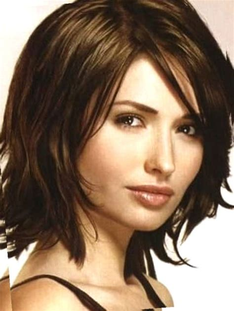 medium length hairstyles thick hair with short forehead medium length hairstyles for thick hair with side bangs