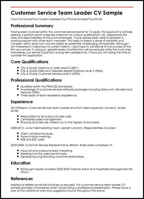 Curriculum Vitae Sles Customer Service Sales Team Lead Resume