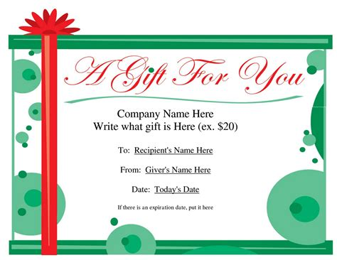 downloadable gift certificate template blank printable gift certificate template