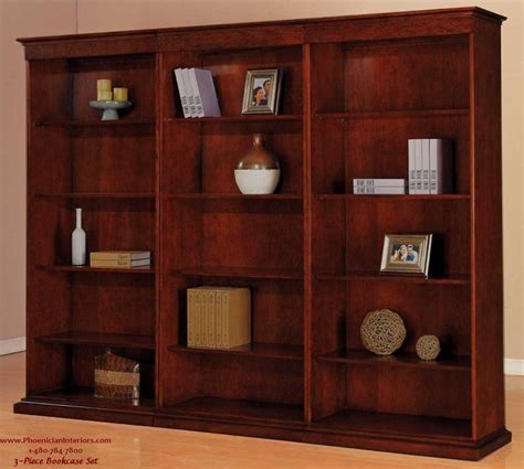 3 piece bookcase set office furniture cherry wood ships