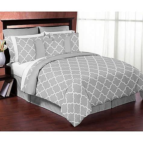 sweet jojo designs trellis comforter set  greywhite bed bath