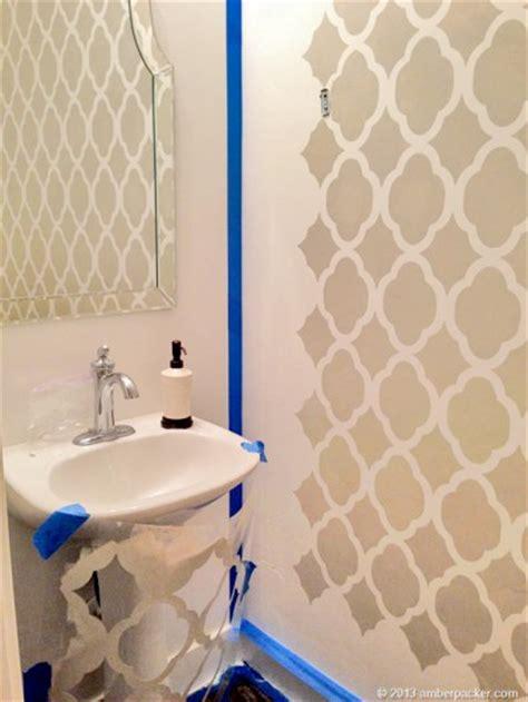 stencils boast big style in a powder room