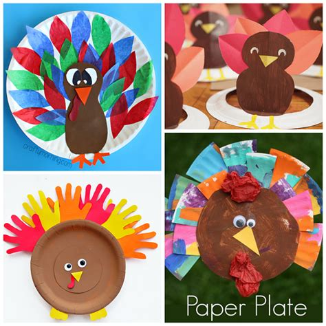 Paper Crafts For Thanksgiving - thanksgiving paper plate crafts for crafty morning
