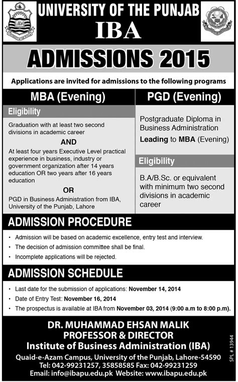 Uw Evening Mba Tuition by Punjab Iba Admissions 2015 Mba Evening