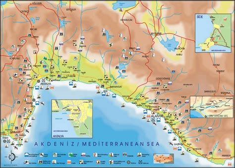 antalya map tourist attractions antalya region tourist map antalya turkey mappery