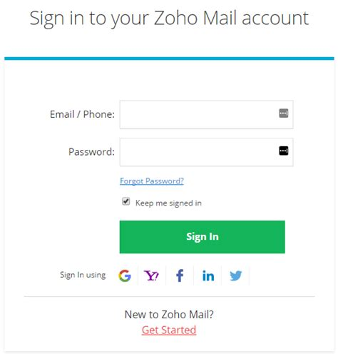 zoho mail login page zoho connect