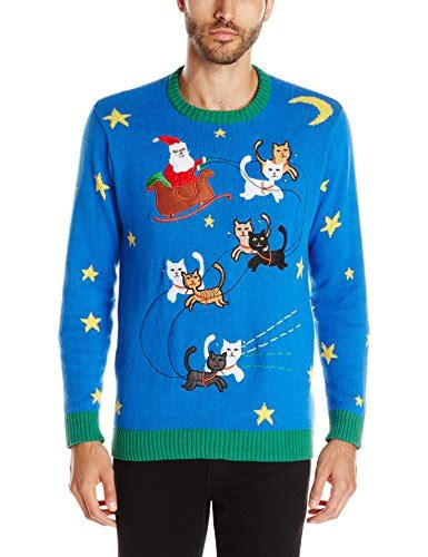 mens light up holiday sweater blizzard bay men s light up reinkitty ugly christmas