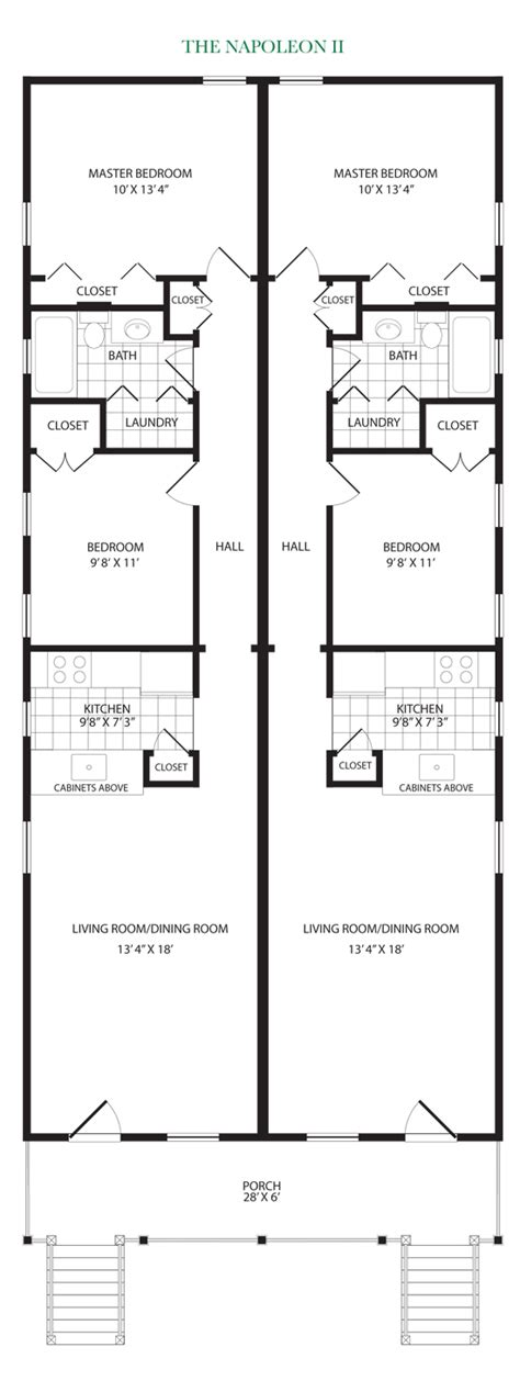 shotgun home plans except with a u shaped kitchen and breakfast bar for the