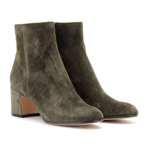 gianvito suede boots gianvito suede ankle boots in gray lyst