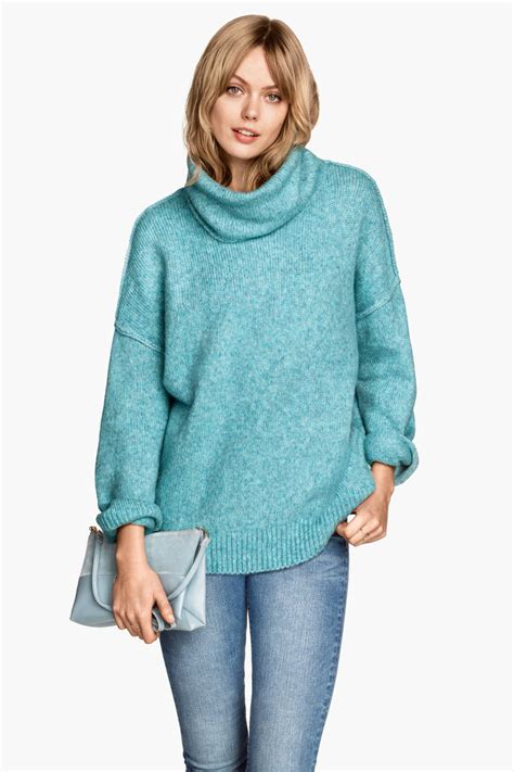 Hm Sweater Invert Fit Xl cowl neck sweater turquoise sale h m us