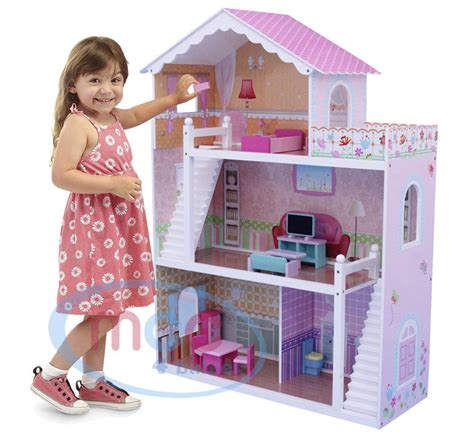 wooden childrens dolls house mcc wooden kids doll house with furniture staircase fits barbie dollhouse ebay