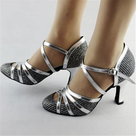 Giltter Silver Dance Shoes Salsa Latin Dance Shoes Women