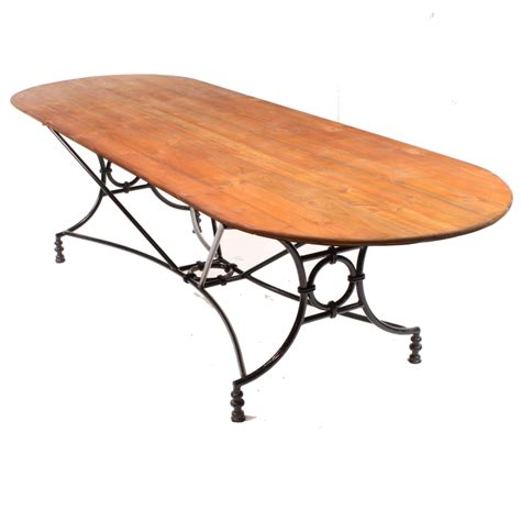 Large Wrought Iron Pine Conservatory Patio Dining Table Wrought Iron Patio Table