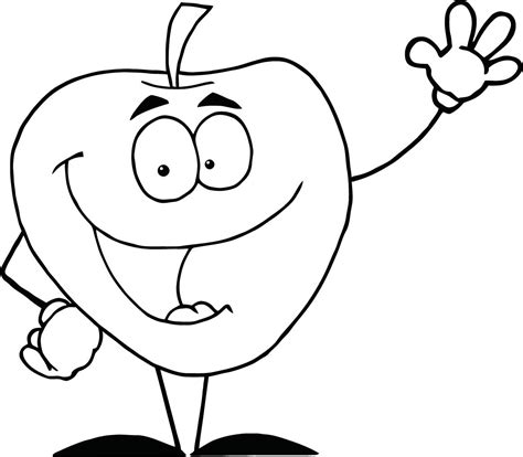 apple juice coloring page color page of happy cartoon apple waving a greeting