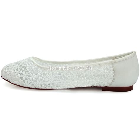Comfortable Flats by Elegantpark Free Shipping Fc1506 Ivory Toe Comfortable Lace Flats Wedding Shoes In
