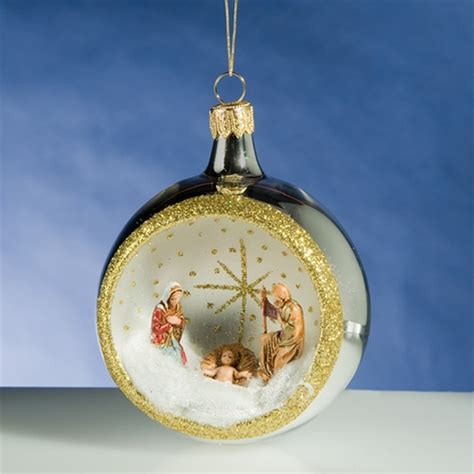de carlini silver round nativity christmas ornament the
