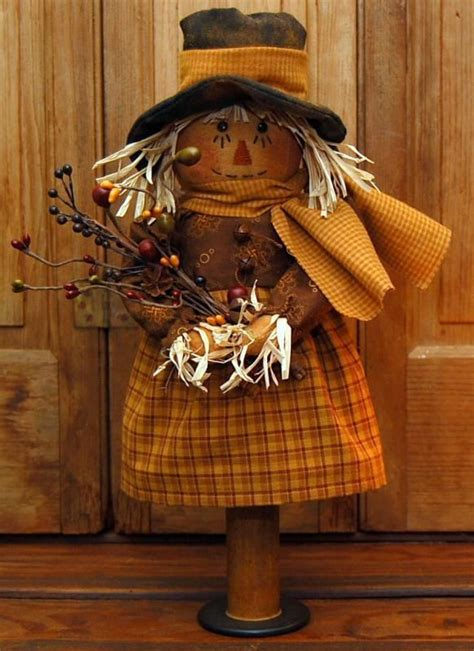 Handmade Primitives - handmade primitive wood bobbin scarecrow doll cupboard