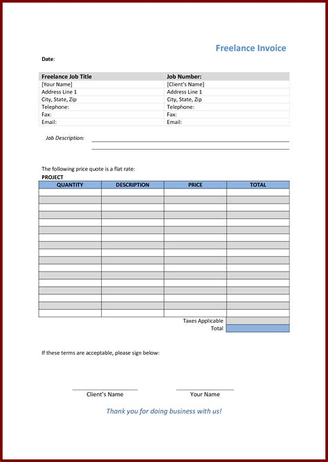 free printable template awesome collection of empty invoice template business