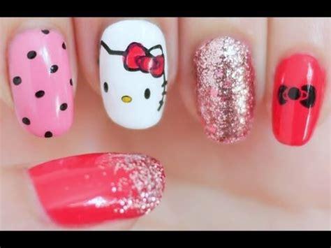 tutorial nail art hello kitty hello kitty inspired nail tutorial konad sting youtube