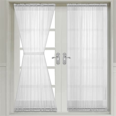 door curtain panels abri white crushed sheer door curtain panel