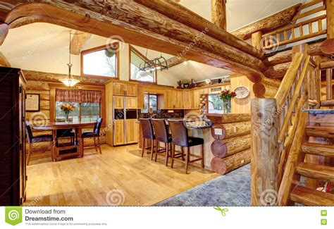12 X 8 Bungalow House Design Free log cabin house interior of dining and kitchen room stock