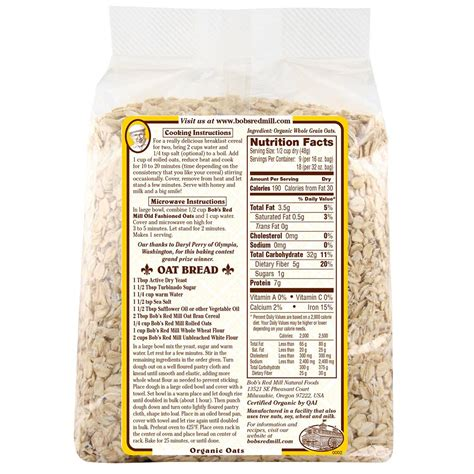 a whole grain rolled oats bob s mill organic fashioned rolled oats whole