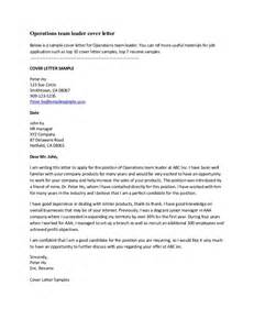 Operations Team Leader Cover Letter by Cover Letter Exles For Resumes