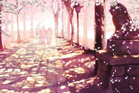 wallpaper cartoon sakura sakura anime scenery wallpaper desktop 52782 wallpaper