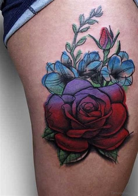 pretty rose tattoos evergreen flowers tattoos on thigh
