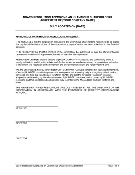 resolution document template board resolution approving unanimous shareholders