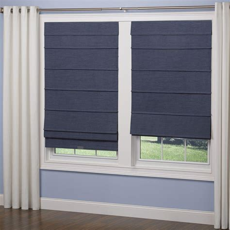home depot l shades elegant home fashions navy room darkening cordless fabric
