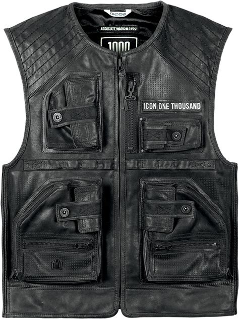 motorcycle riding vest leather icon 1000 associate warchild limited edition leather