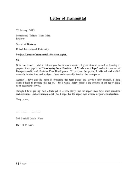 Transmittal Letter For A Company business plan on chips
