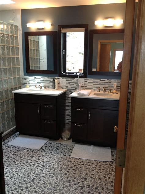 His And Hers Vanity by Bathroom Remodel With Curved Barrier Free Glass Block Walk